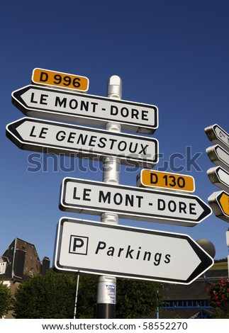 Road signs in France - Auvergne - stock photo