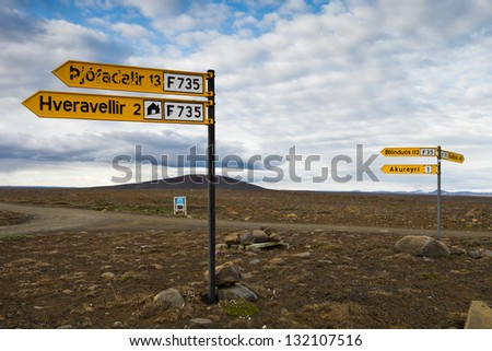 Road signs Kjolur route - stock photo