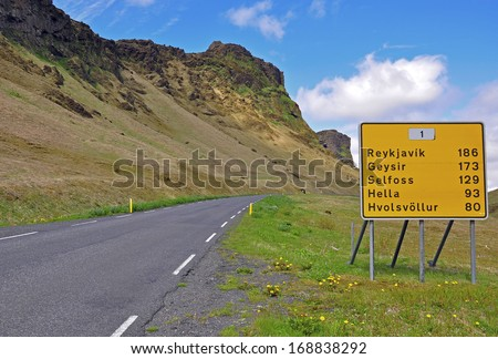Road signs on the highway in Iceland - stock photo
