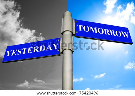 Road signs showing the ways to YESTERDAY and TOMORROW.