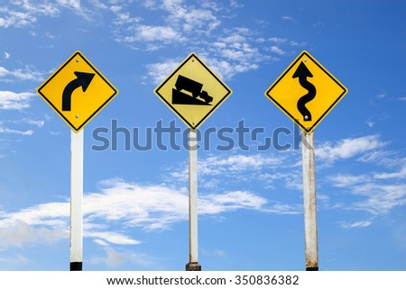 road signs, traffic signs set on blue sky  background,with clipping path - stock photo