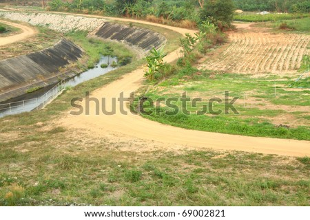 Road, soil in Thailand - stock photo