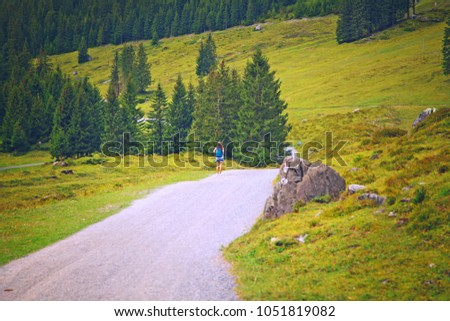 Road Surrounded By Beautiful Mountain Forest Stock Photo Royalty
