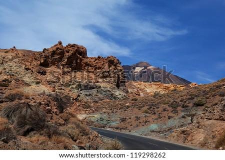 Road through El Teide national park, Canary Islands. Volcano Teide. - stock photo