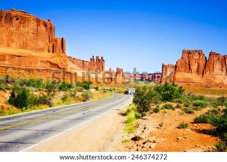 Road through famous Arch National Park, Utah, USA - stock photo