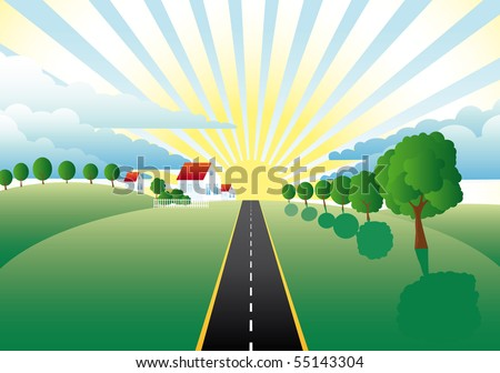 road through meadows past farms to the sun - stock photo