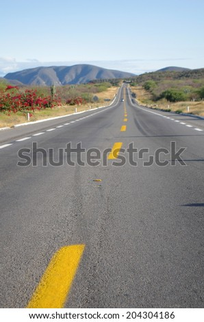 Road through mountains and plains of Mexico