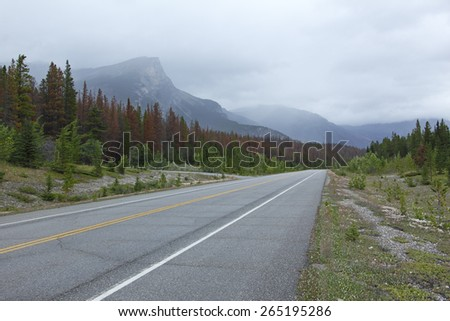 Road through Rocky Mountains in Banff National Park - Alberta, Canada - stock photo