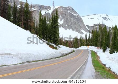 Road through Snowy Range Mountains of Wyoming - stock photo