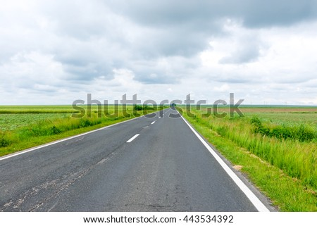 Road through the green field and clouds on sky in summer day