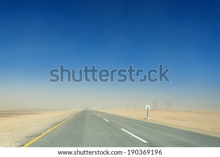 Road Through the Namib Desert, Namibia, Africa - stock photo