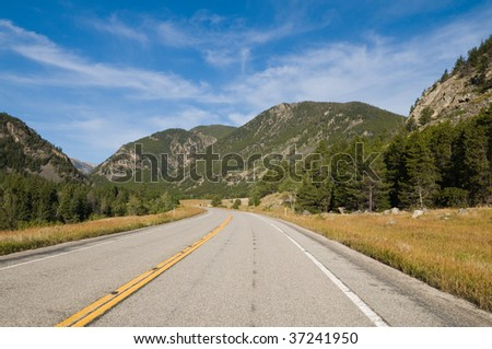 Road through the Rocky Mountains south of Red Lodge, Montana