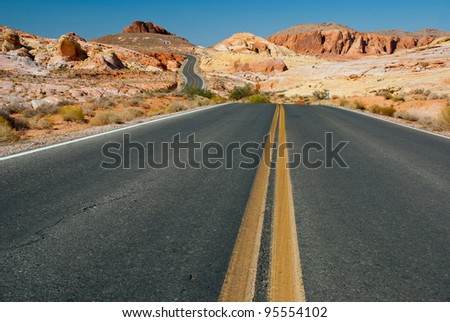 Road through the Valley of Fire State Park, Nevada, USA - stock photo