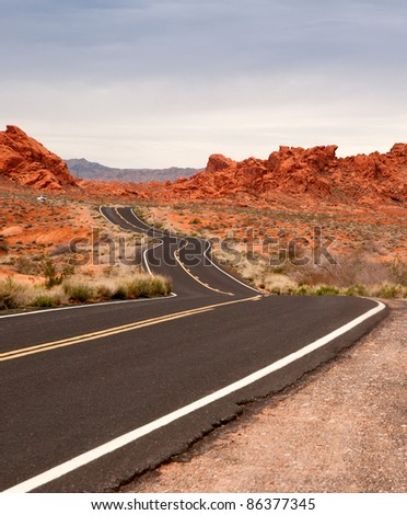 Road through Valley of Fire, Nevada - stock photo
