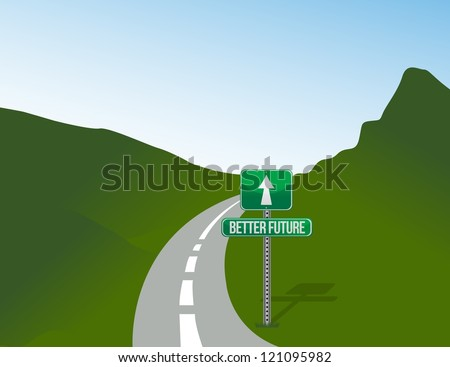 road to better future illustration landscape design graphic background