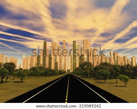 Road to city under alien sky - stock photo