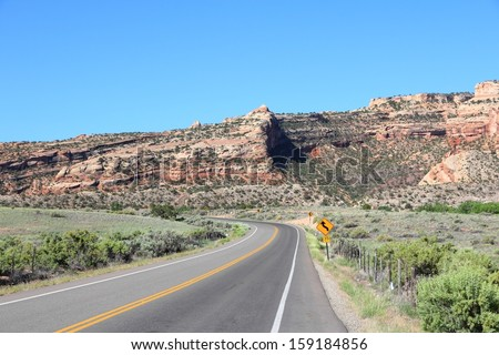 Road to Colorado National Monument in the United States. Part of National Park Service.