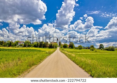 Road to countryside village of Bisag in Croatia - stock photo