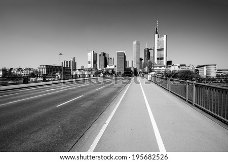 Road to Frankfurt skyline  - stock photo