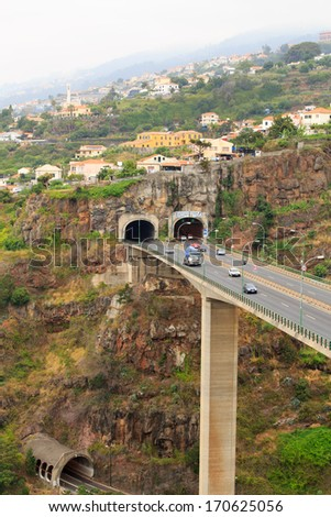 Road to Funchal, Madeira - stock photo