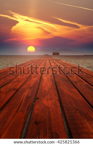 Road to heaven into the sunset  - stock photo