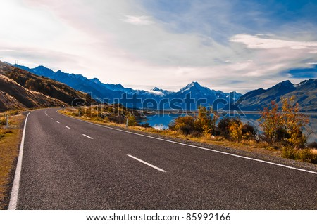 Road to Mount Cook and Pukaki lake, New Zealand - stock photo