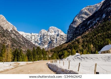 Road to mountains - stock photo