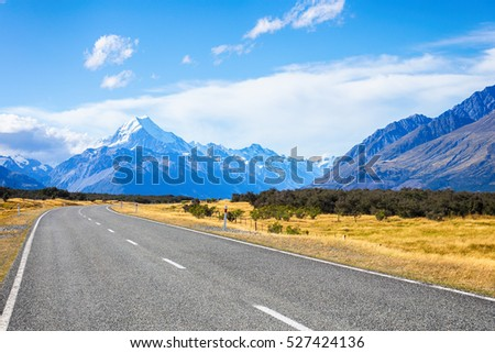 Road to Mt. Cook, New Zealand national park