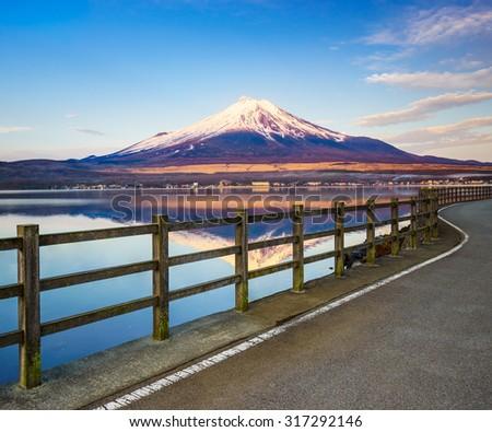 Road to Mt.Fuji with Lake Yamanaka, Yamanashi, Japan - stock photo