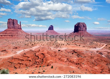 Road to  Navajo Nation's Monument Valley Park,  Utah - stock photo