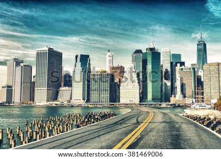 Road to New York City. Holiday and travel concept. - stock photo
