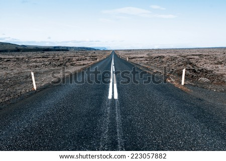 Road to nowhere - Iceland - stock photo