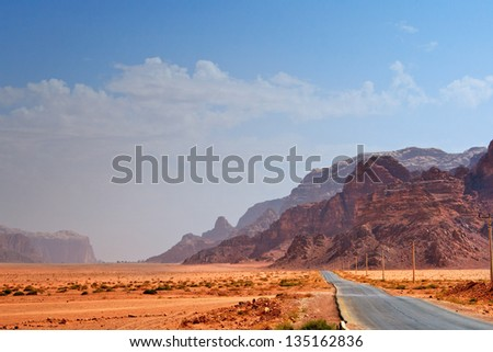 Road to nowhere in the desert - stock photo