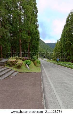 Road to Santiago lagoon on the island of Sao Miguel, Azores, Portugal - stock photo