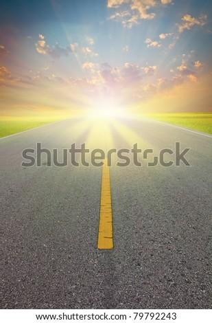 Road to sun - stock photo