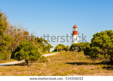 Road to the lamp post of the Robben Island - stock photo