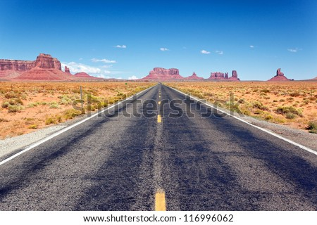 Road to the Monument Valley, Arizona - stock photo