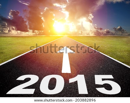 road to the 2015 new year and sunrise background - stock photo