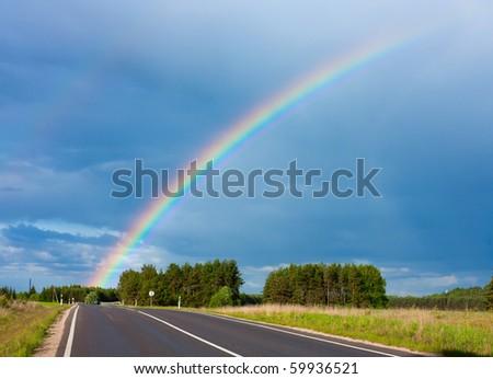 road to the rainbow - stock photo