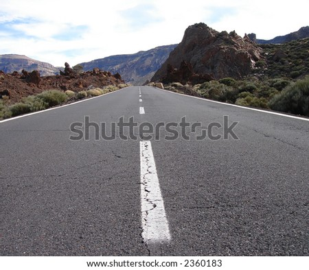 Road to the volcano - stock photo