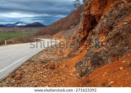Road to Trebinje town in Bosnia and Hercegovina - stock photo