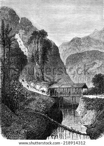 Road Tondano, vintage engraved illustration. Le Tour du Monde, Travel Journal, (1872). - stock photo