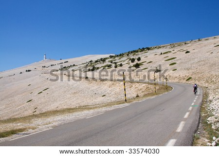 Road towards the summit of Mont Ventoux - stock photo