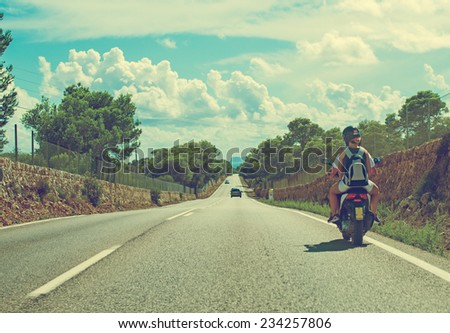 Road traffic in summer. - stock photo