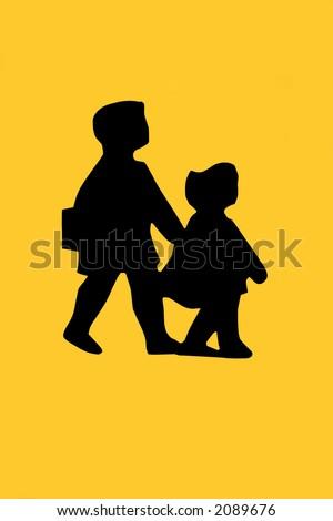 Road traffic school children beware sign in black, against yellow. - stock photo