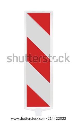 Road traffic works safety pole post barrier, vertical panel under construction warning sign, red, white diagonal striped signage, large detailed isolated closeup - stock photo