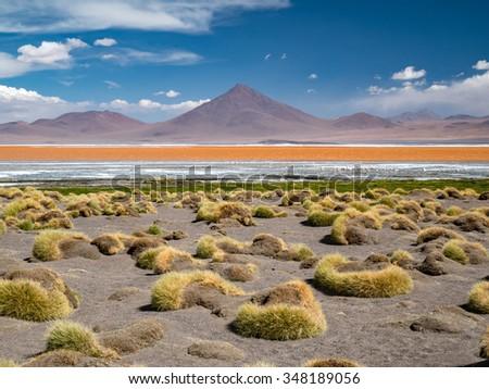 Road trip in the Andes, from San Pedro de Atacam to Uyuni - stock photo