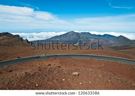 Road winding above Haleakala crater in Maui, Hawaii