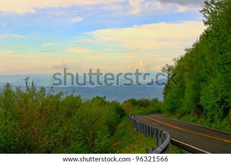 Road winding through the Appalachian Mountains. - stock photo