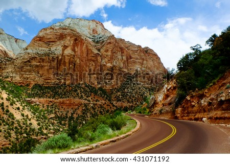 Road Winding Through Zion Canyon.  Zion National Park, Utah